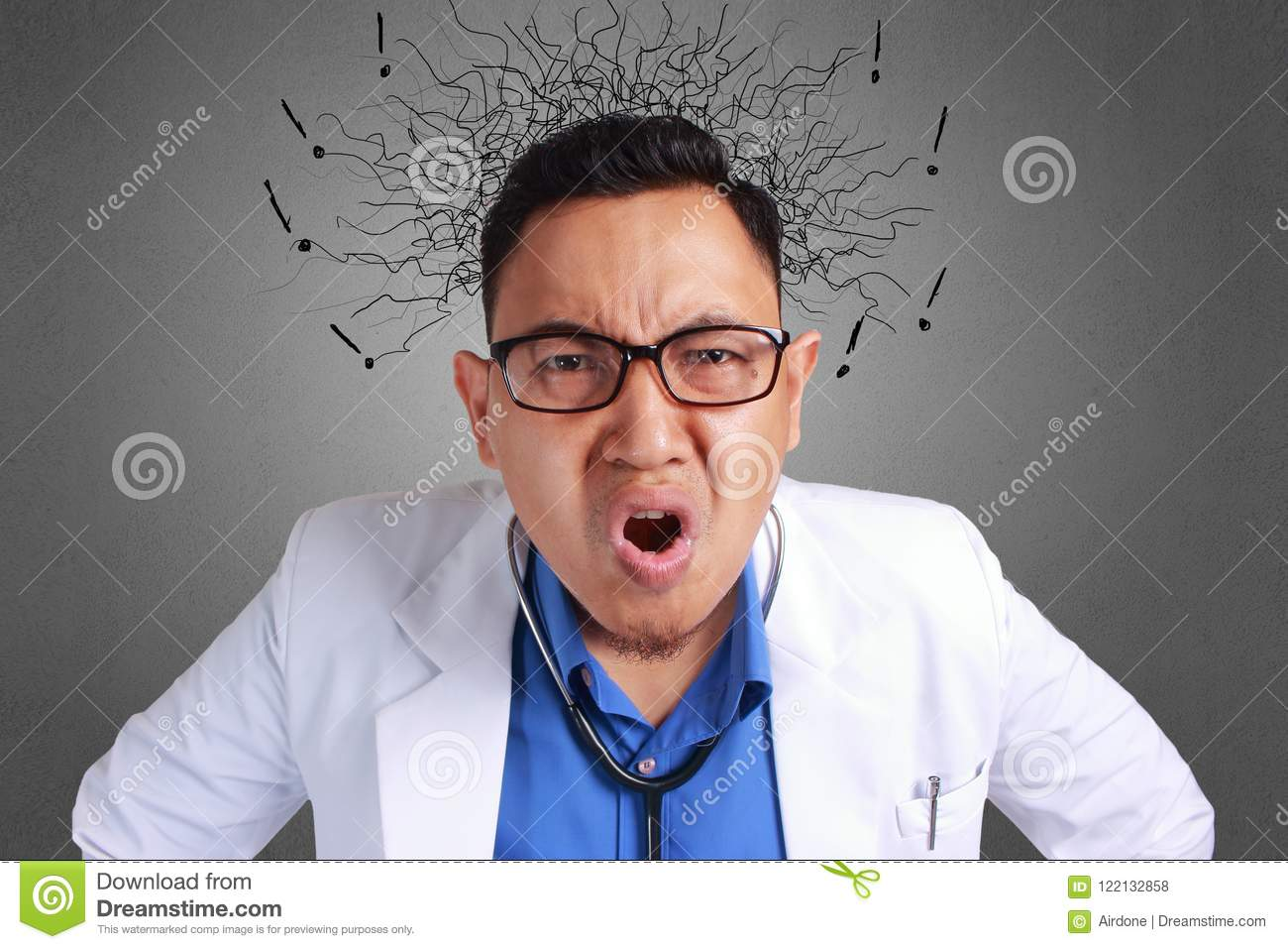 screaming Messy doctor asian