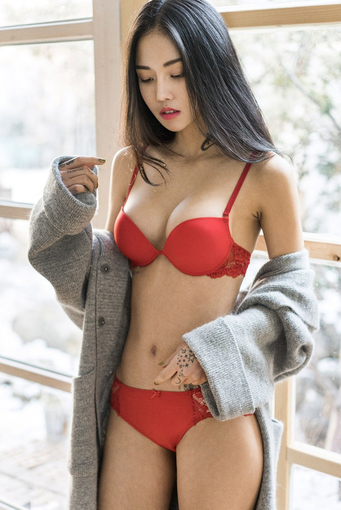 Curly lingerie asian shared